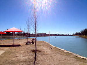 Beach area on Carlsbad Lake