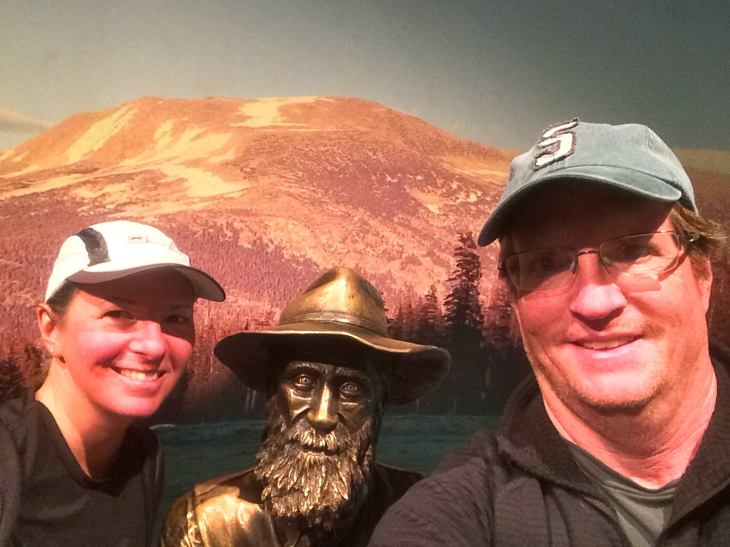 Selfie with a statue of John Muir