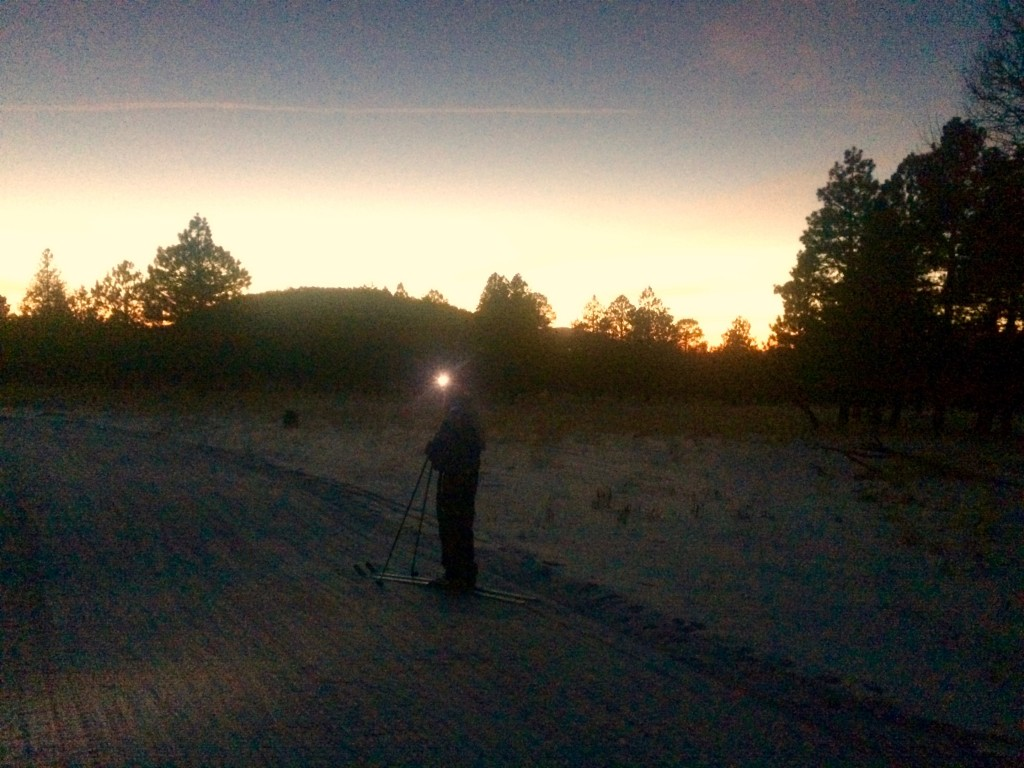 (Almost) night skiing with bonfire to follow