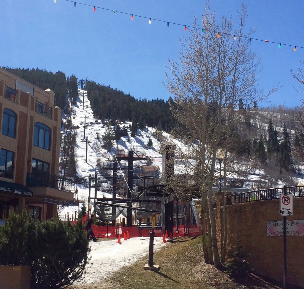 One of the Park City ski lifts comes right into town