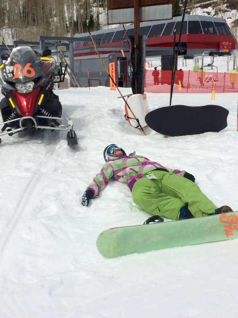 The altitude took its toll too. Julia did very well considering it was her first board of the season!