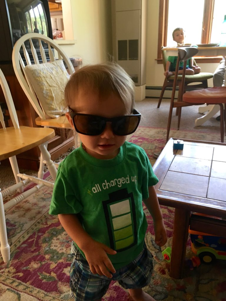 Sam loves glasses. Good thing: being a Coupland he'll probably need them one day